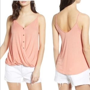 All in Favor Pink Twist Button Front Tank Top